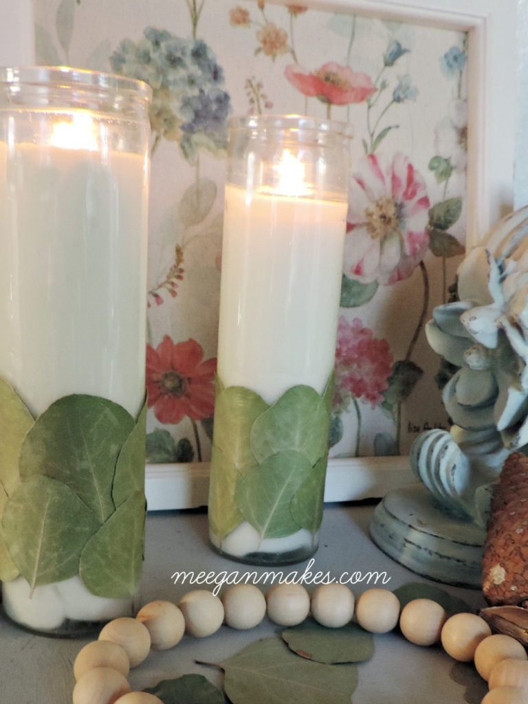 decoupage-eucalyptus-leaves-to-a-dollar-store-candle