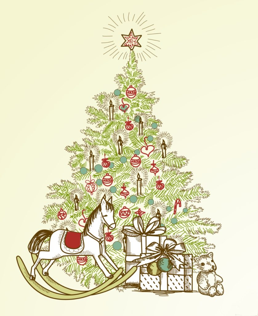 vintage-christmas-tree-with-rocking-horse