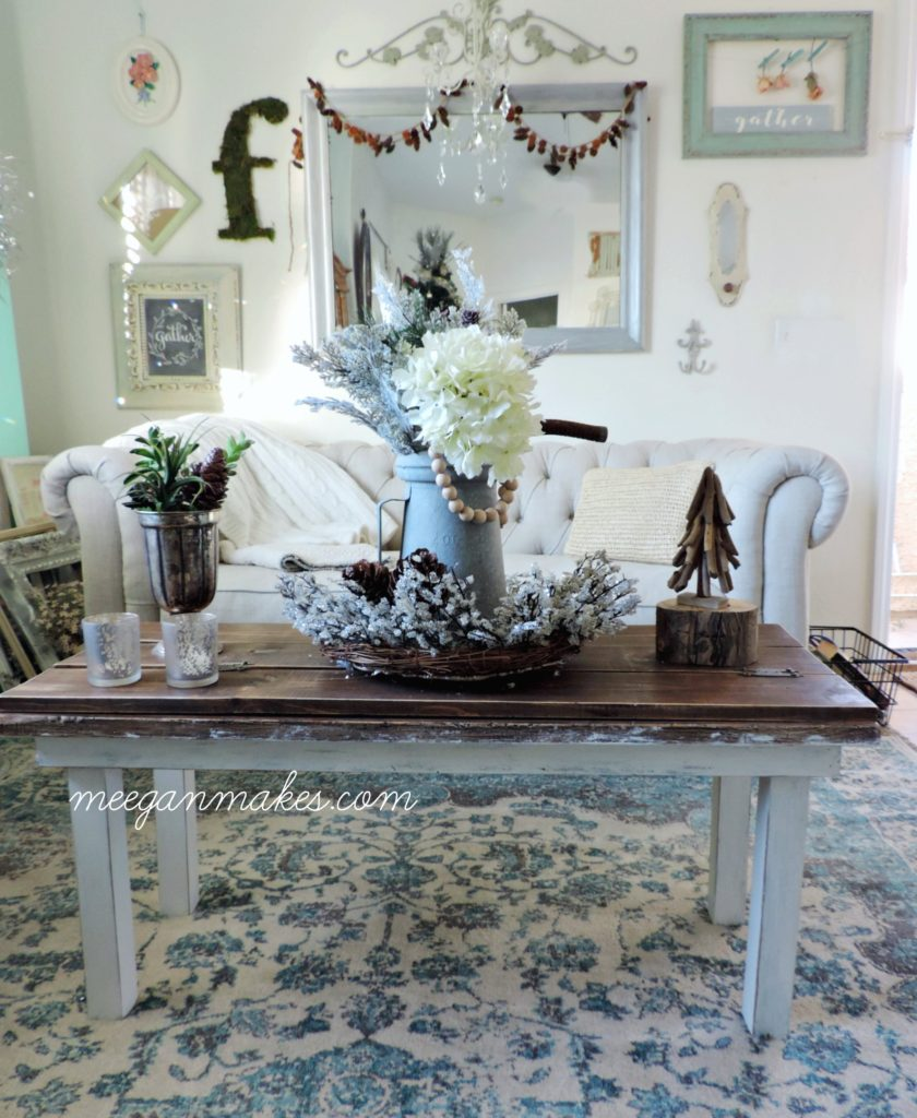 To Add A Winter Vignette On My Coffee Table I Used Christmas Crystal Wreath And Vintage Oil Can As The Centerpiece Adding Few Greenery Pieces